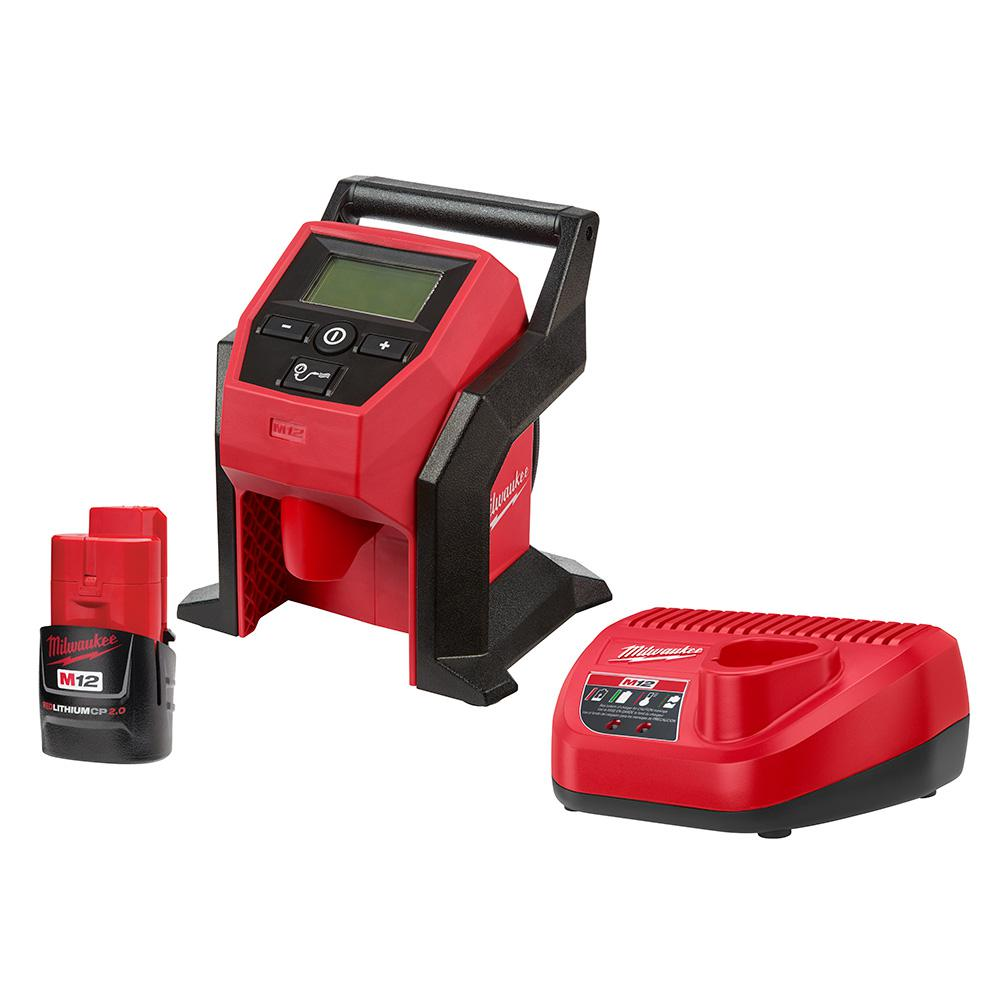 Milwaukee M12 12-Volt Lithium-Ion Cordless Compact Inflator w/ 2.0 Ah Battery and Charger