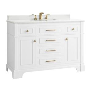 Home Decorators Collection Windlowe 49 In W X 22 In D X 35 In H Bath Vanity In White With Carrera Marble Vanity Top In White With White Sink 15101 Vs49c Wt The Home Depot