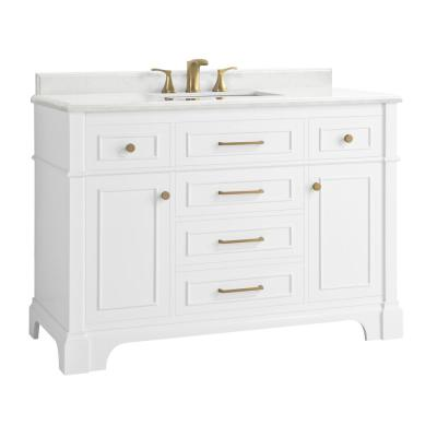 Melpark 48 in. W x 22 in. D Bath Vanity in White with Cultured Marble Vanity Top in White with White Sink