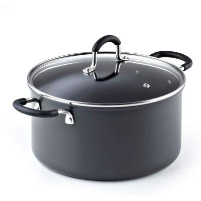 6 qt. Round Hard-Anodized Aluminum Nonstick Casserole Dish in Black with Glass Lid