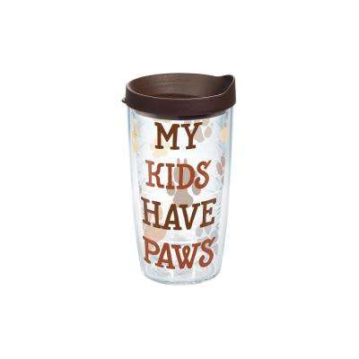 My Kids Have Paws 16 oz. Clear Tumbler with Lid