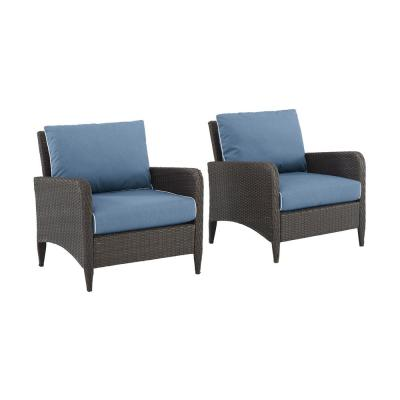 Kiawah Wicker Outdoor Lounge Chair With Blue Cushions (2-Pack)