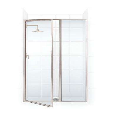 Legend Series 40 in. x 69 in. Framed Hinged Shower Door with Inline Panel in Brushed Nickel with Clear Glass