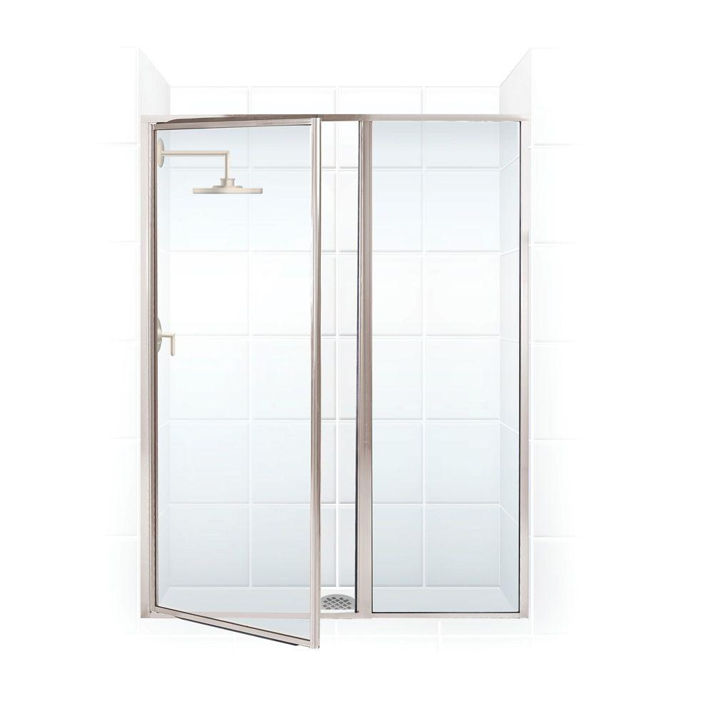 Coastal Shower Doors Legend Series 54 in. x 69 in. Framed Hinge Swing Shower Door with Inline Panel in Brushed Nickel with Clear Glass