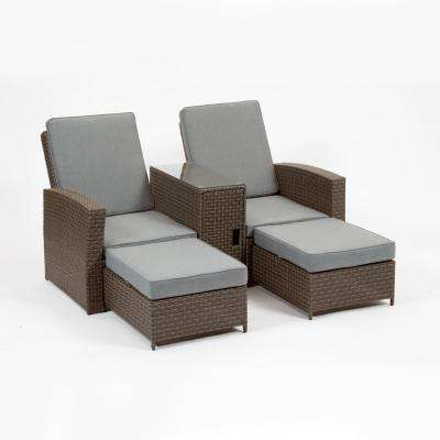 Cayo Coco Brown Plastic Outdoor Lounge Chair With Grey Cushions (2 Pack)