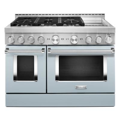 48 in. 6.3 cu. ft. Smart Double Oven Commercial-Style Gas Range with Griddle and True Convection in Misty Blue