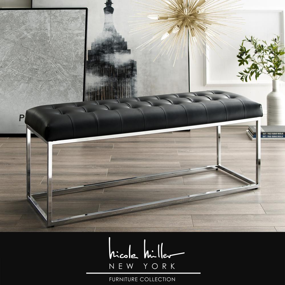 Koa Black/Chrome PU Leather Bench with Button Tufted Metal Frame