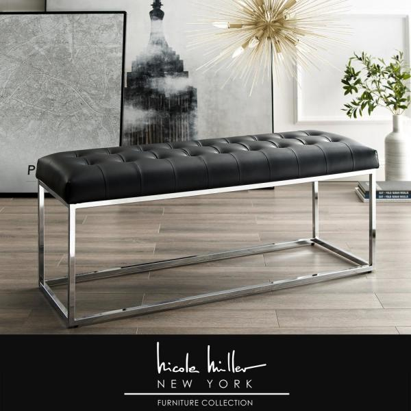 Nicole Miller Koa Black/Chrome PU Leather Bench with Button Tufted Metal