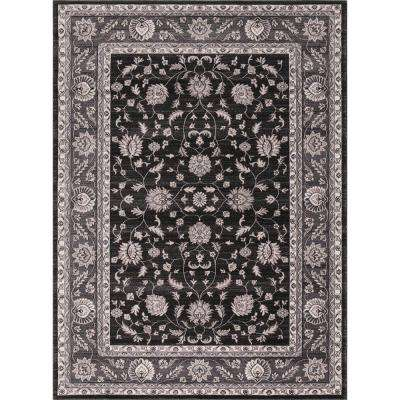 Kashan Collection Mahal Anthracite Rectangle Indoor 9 ft. 3 in. x 12 ft. 6 in. Area Rug