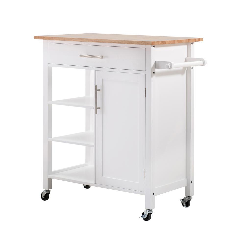 Rosemont White Kitchen Cart