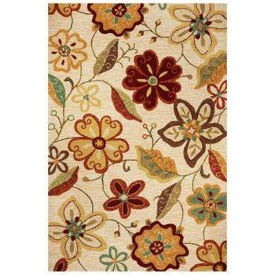 Floral Sunrise Ivory 3 ft. 3 in. x 5 ft. 3 in. Indoor/Outdoor Area Rug