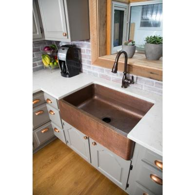 Corbet All-in-One Farmhouse Apron-Front Copper 30 in. Single Bowl Kitchen Sink with Pfister Bronze Faucet and Strainer