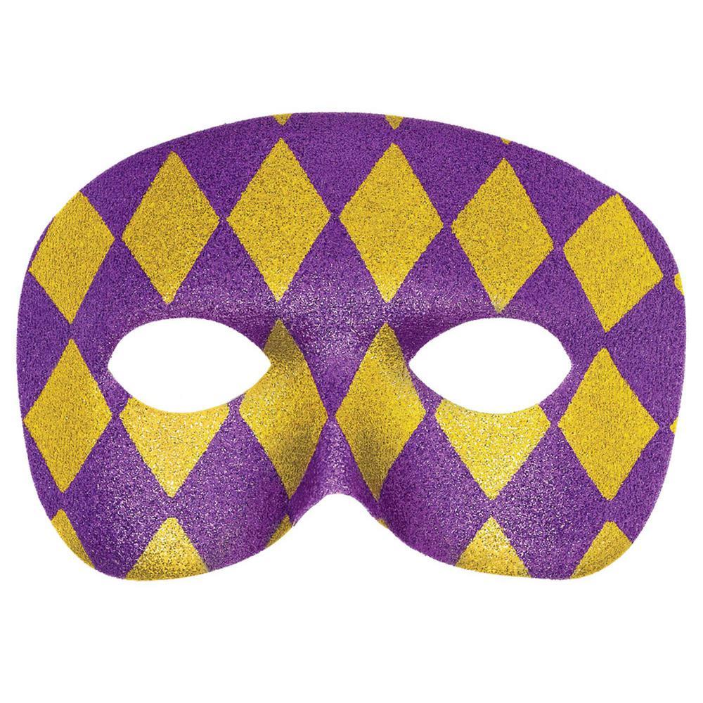 Amscan Purple, Gold Plastic Glitter Harlequin Mardi Gras Masquerade ...