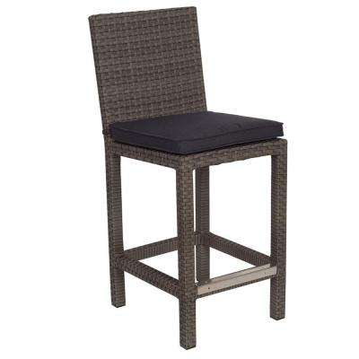 Martinique Grey Patio Bar Stool with Grey Cushion (2-Pack)