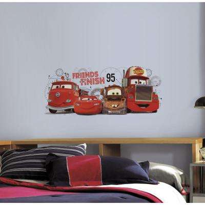 5 in. x 19 in. Cars 2 - Friends to the Finish Peel and Stick Giant Wall Decal