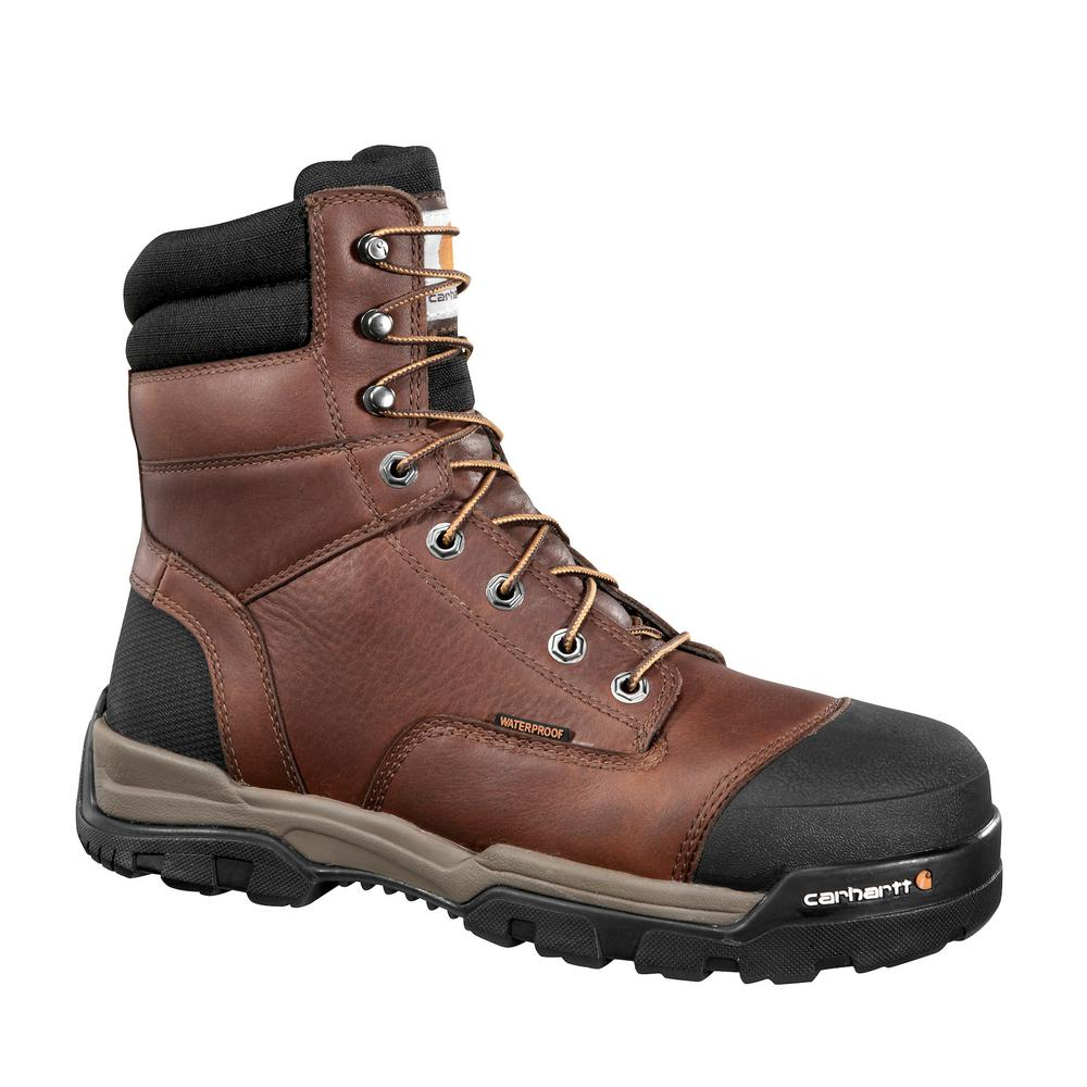 705389efe8d Carhartt Ground Force Men's 13M Brown Leather Waterproof Composite Safety  Toe 8 in. Lace-up Work Boot