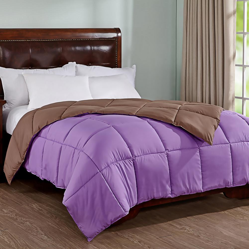 All Season Purple/Brown Twin Reversible Down Alternative Comforter