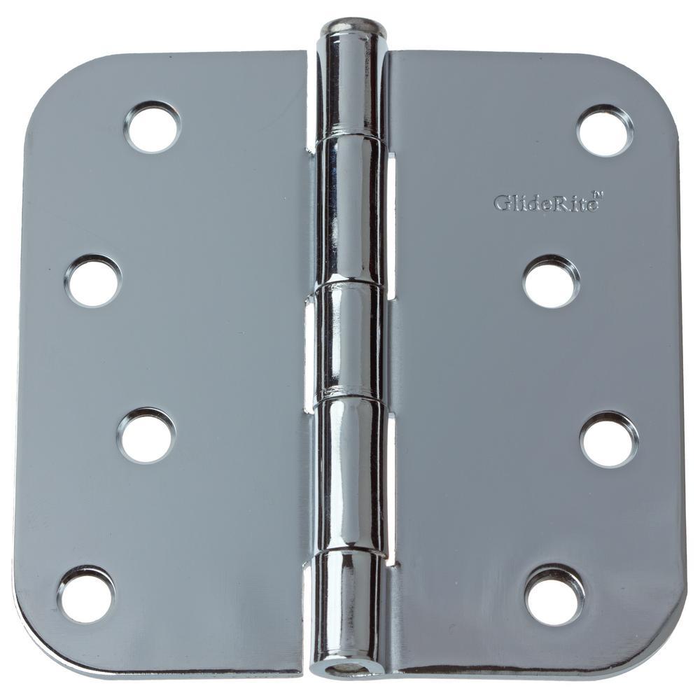 4 in. Polished Chrome Steel Door Hinges 5/8 in. Corner Radius with Screws (24-Pack)