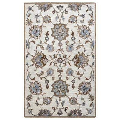 Elegant Valintino Taupe Floral Oriental Hand Tufted Wool 5 Ft. X 8 Ft. Area Rug
