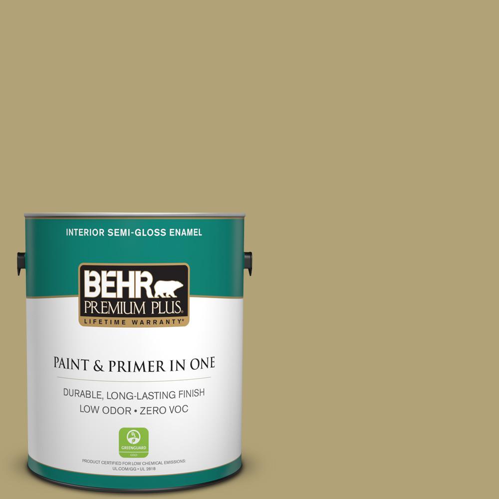 1 gal. #PMD-101 Green Fig Semi-Gloss Enamel Zero VOC Interior Paint
