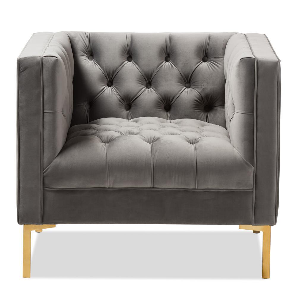 Baxton Studio Zanetta Gray Fabric Upholstered Lounge Chair