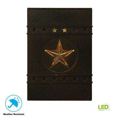 Solar Distressed Black Integrated LED Deck Light with Lone Star Design (2-Pack)