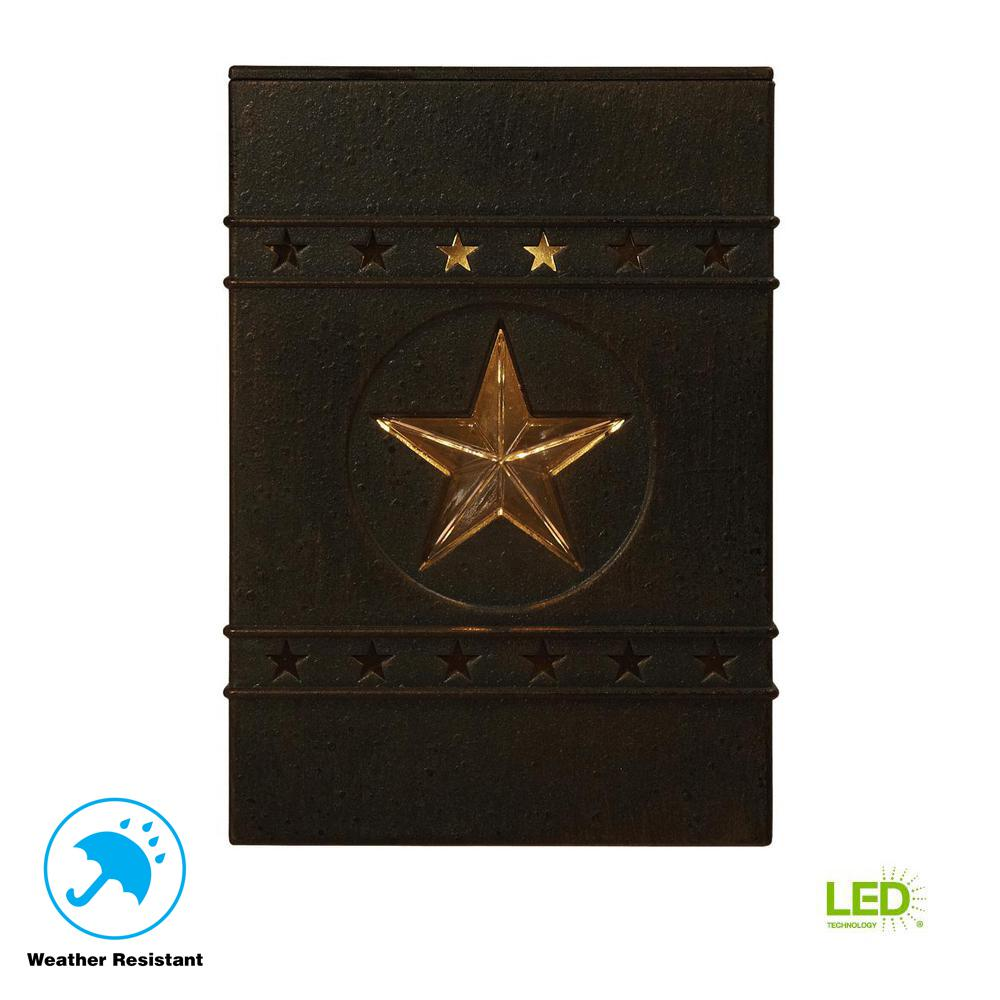 Solar Distressed Black Integrated Led Deck Light With Lone Star Design 2 Pack