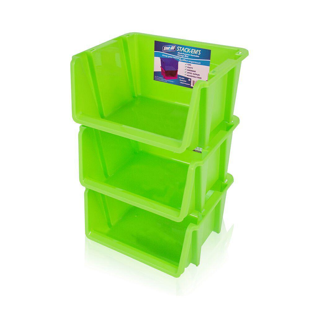 Perfect Stackable Storage Bin In Green (3 Pack)