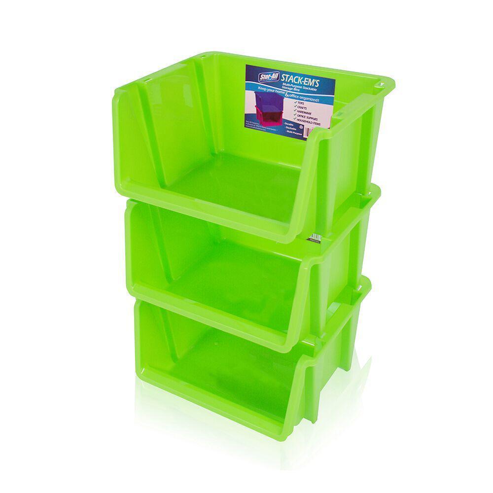 Stackable Storage Bin in Green (3-Pack)