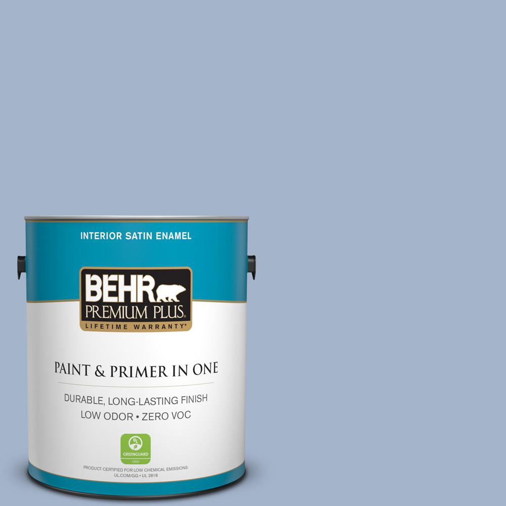 1 gal. #PPU15-14 Ballroom Blue Zero VOC Satin Enamel Interior Paint