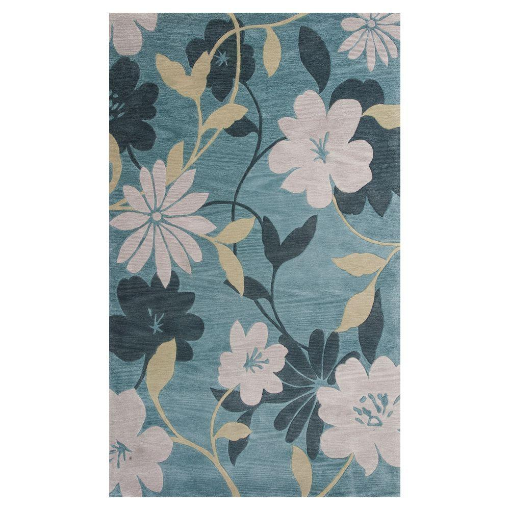 Water Flowers Blue/Grey 2 ft. 3 in. x 3 ft. 9
