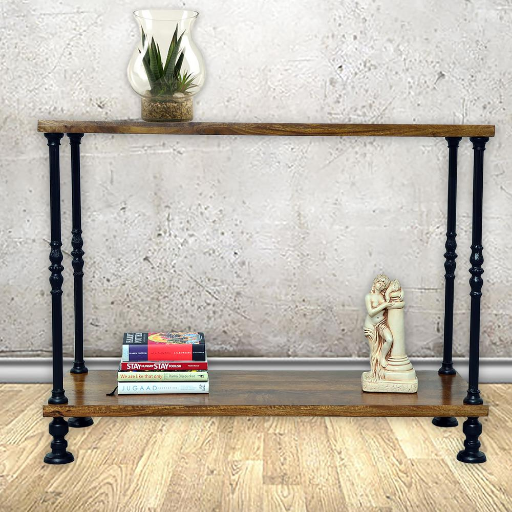 carolina cottage keegan rich chestnut and black metal console the home depot