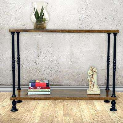 Keegan Rich Chestnut and Black Metal Console Table