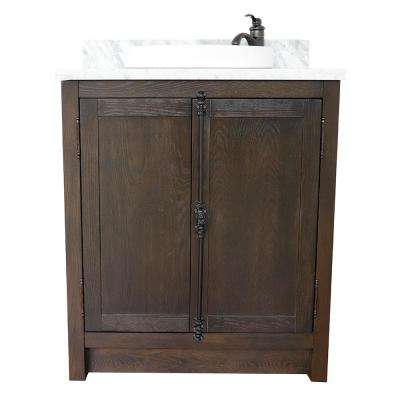 Plantation 31 in. W x 22 in. D Bath Vanity in Brown with Marble Vanity Top in White with White Round Basin