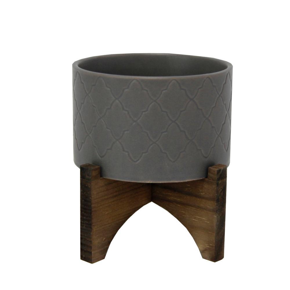 5 in. Dark Grey Argyle Ceramic Pot on Wood Stand Mid-Century Planter