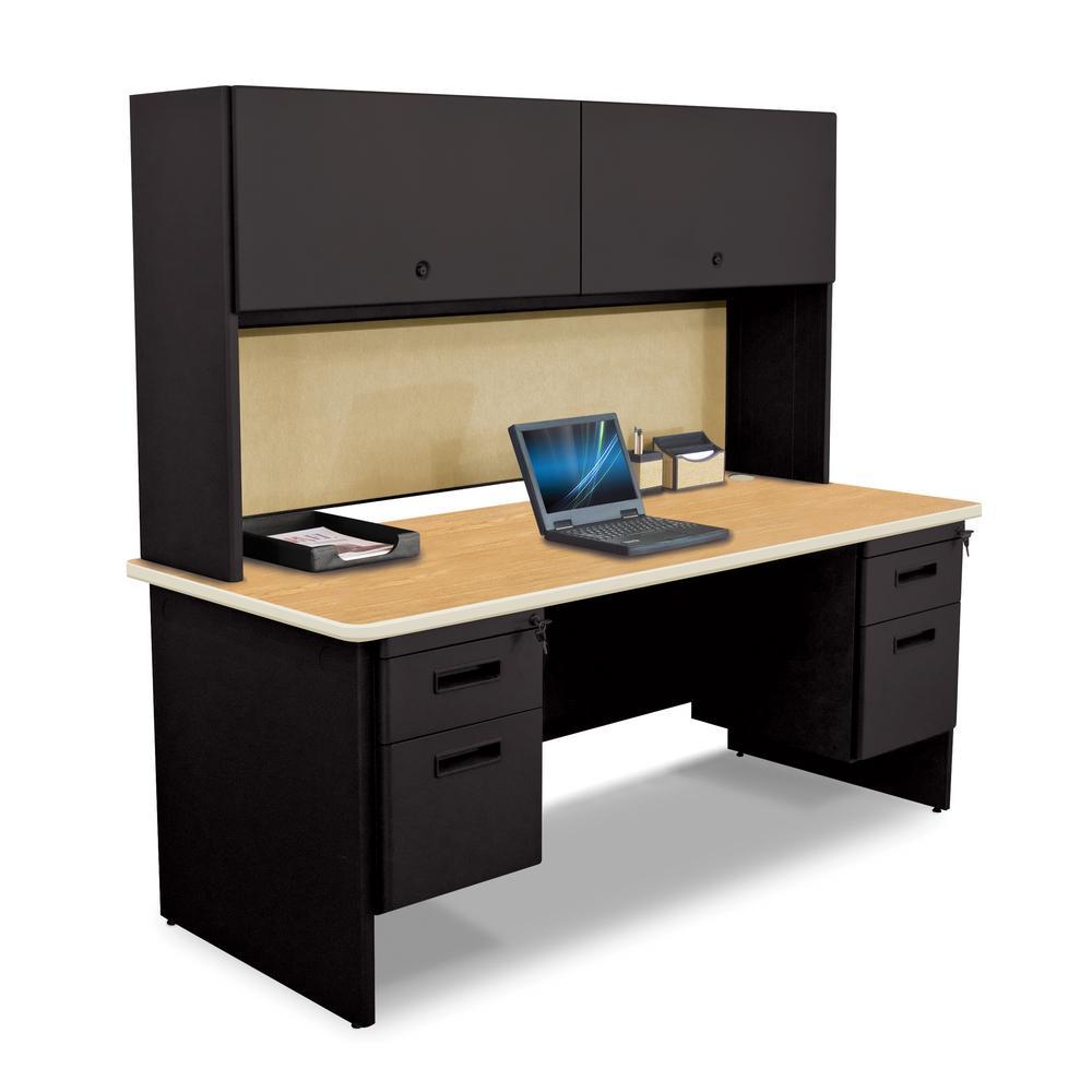 8 ft. 6 in. W x 6 ft. D Black Oak and Beryl U-Shaped Desk with Flipper Do or Unit