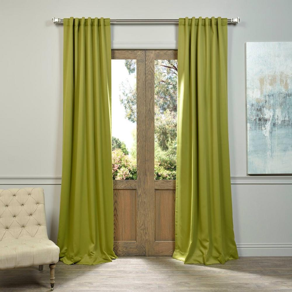 Exclusive Fabrics Furnishings Semi Opaque Moss Green Blackout Curtain 50 In W X 120 L Panel Boch 201705 The Home Depot