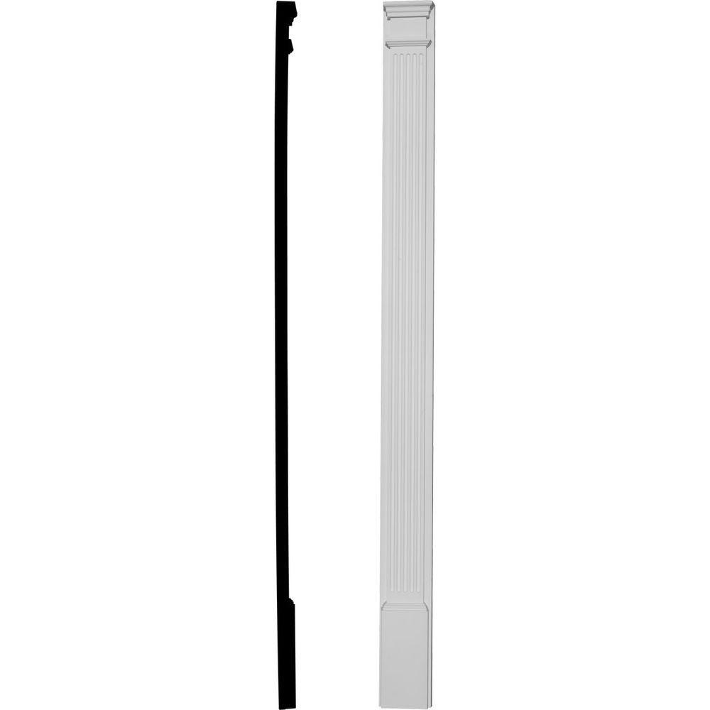 Ekena Millwork 7 in. x 2-1/4 in. x 96 in. Primed Polyurethane Fluted Pilaster Moulding