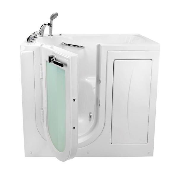 Ella Mobile 45 In X 26 In Walk In Microbubble Air Bath Bathtub In White With Left Outward Swing Door Fast Fill Drain Oa2645m Hb L The Home Depot