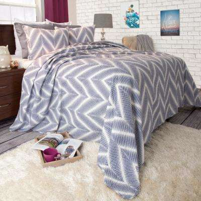 Oriana Blue Polyester King Quilt