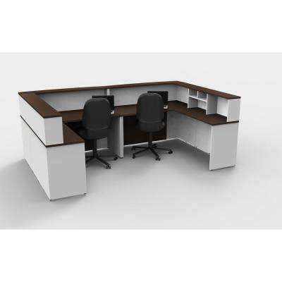 8-Piece White/Espresso Office Reception Desk Collaboration Center