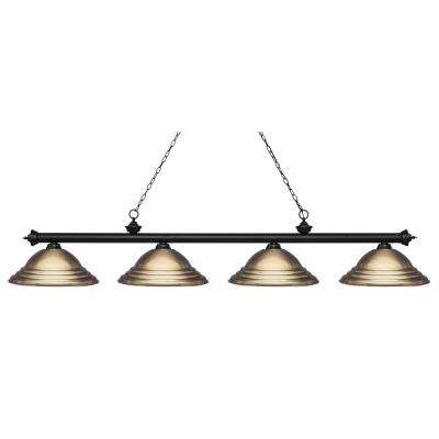 Pool table lights lighting the home depot porter 4 light matte black billiard light with antique brass steel shade greentooth Images