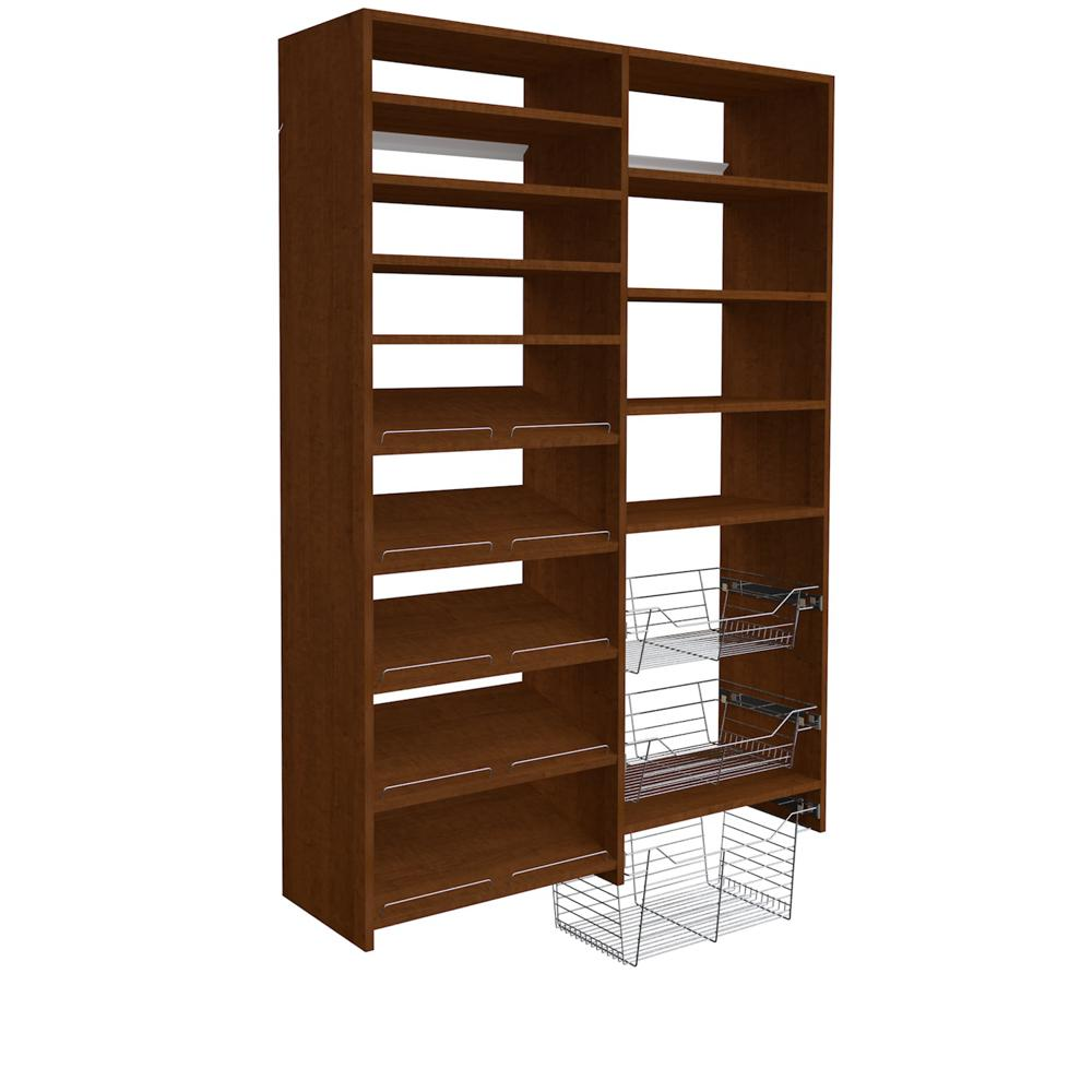 SimplyNeu 72 in. H x 50 in. W Cognac Cherry Garage Baskets and Shelving Storage Kit