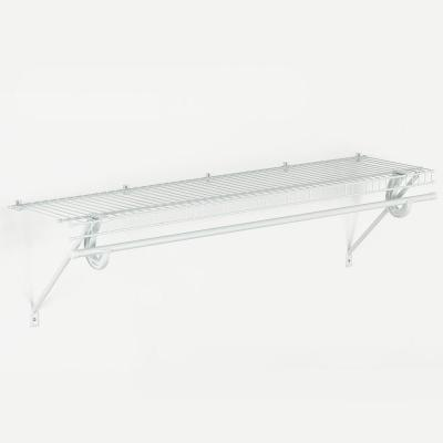 SuperSlide 48 in. W x 12 in. D Wire Fixed Mount Shelf Kit with Closet Rod