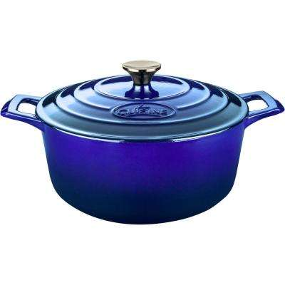 PRO Round 6.5 Qt. Cast Iron Casserole with Enamel in High Gloss Sapphire