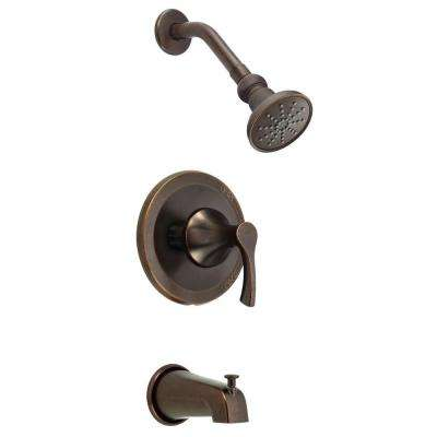 Antioch 1-Handle Tub and Shower Faucet Trim Kit in Tumbled Bronze (Valve Not Included)
