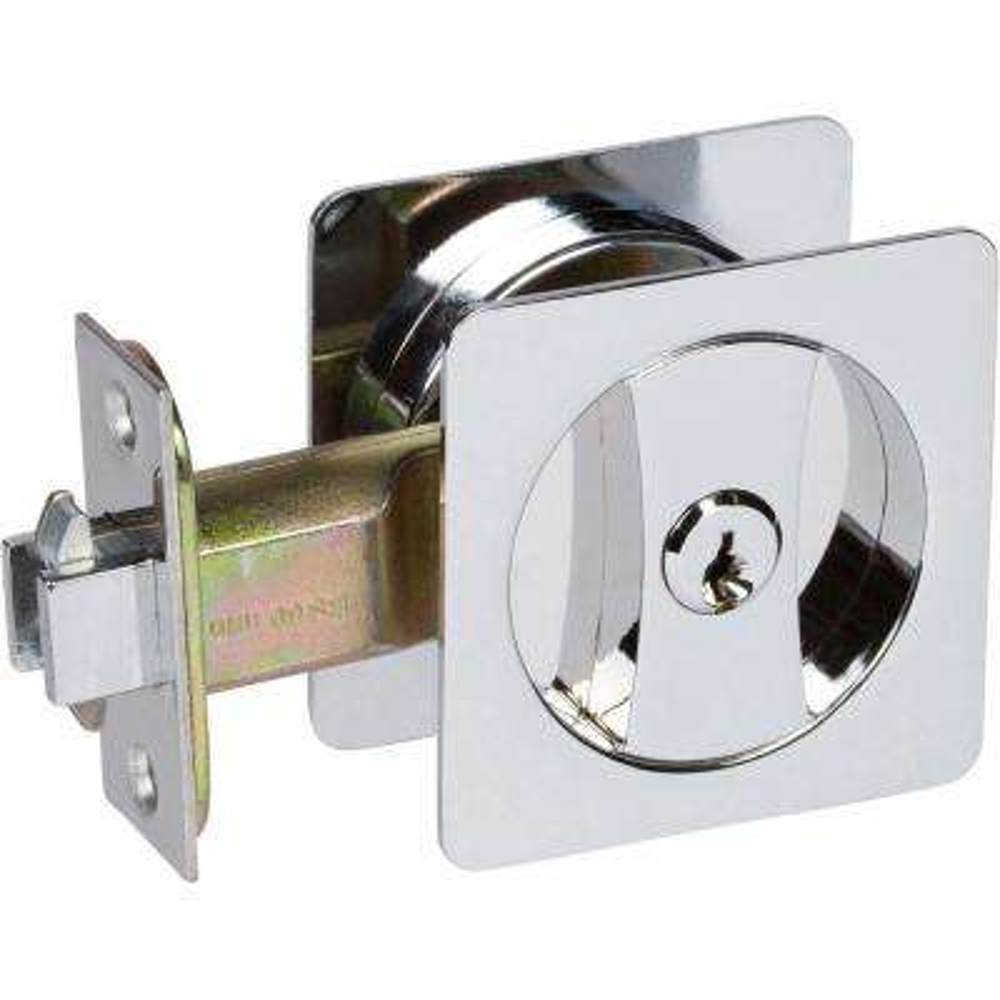 Contemporary Square Polished Chrome Entry Door Sliding Pocket Door Lock
