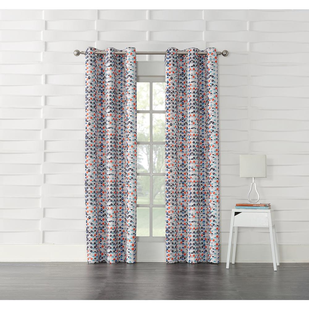 Sun Zero Reva Beige Geometric Room Darkening Curtain