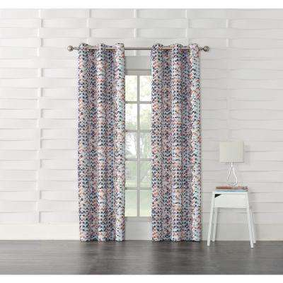 Reva Beige Geometric Room Darkening Curtain - 40 in. W x 84 in. L