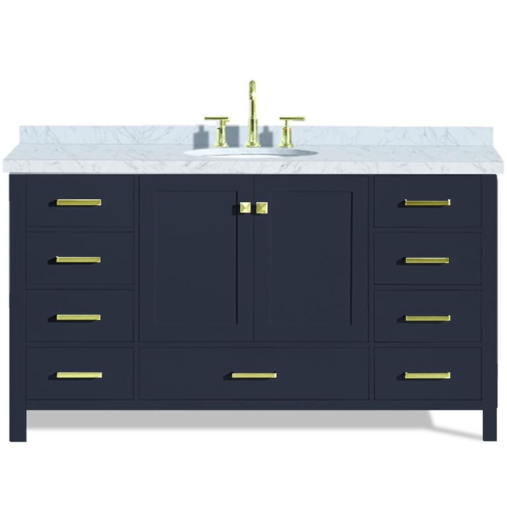 Ariel Cambridge 61 in. W x 22 in. D Vanity in Midnight Blue with Marble Vanity Top in Carrara White with White Basin
